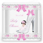 Baby Shower Baby Girl Pink White Lace Heart Shoe Invites