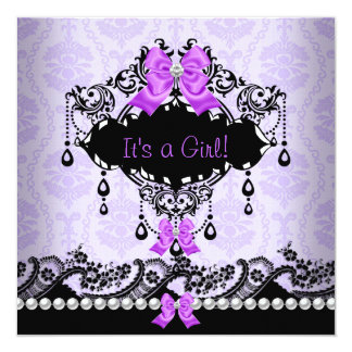 Baby Shower Baby Girl Purple Pink Damask Bow Card