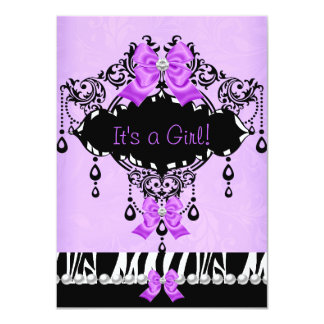 "Baby Shower Baby Girl Purple Pink Zebra Bow 4.5"" X 6.25"" Invitation Card"