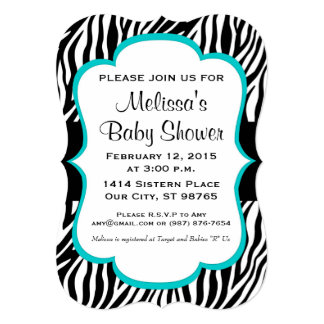 Baby Shower, Baby Sprinkle, Custom Invite, Zebra 5x7 Paper Invitation Card