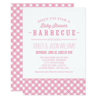Baby Shower BBQ Invitation | Pink Gingham