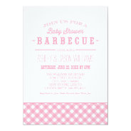 Baby Shower BBQ Invitation | Pink Gingham at Zazzle