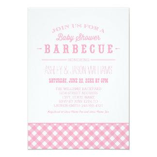 Baby Shower BBQ Invitation | Pink Gingham