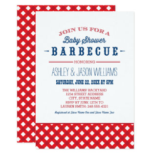Baby Shower BBQ Invitation | Red White + Blue at Zazzle