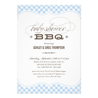 Baby Shower BBQ Invitations - Blue Table Cloth