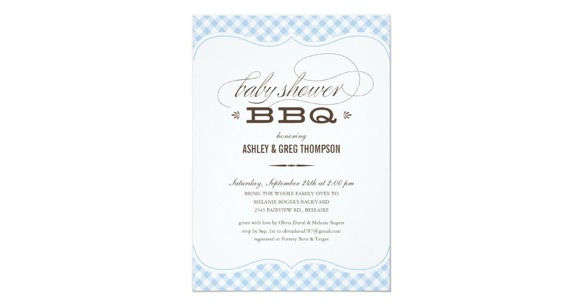 baby shower bbq invitations blue table cloth zazzle