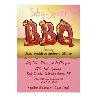 "baby shower BBQ invitations pink girl 5"" X 7"" Invitation Card"