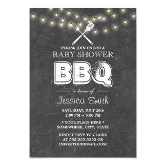 Baby Shower BBQ Summer String Lights Chalkboard Card