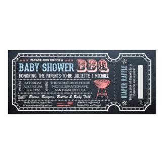 Baby Shower BBQ Ticket Invitations w Diaper Raffle