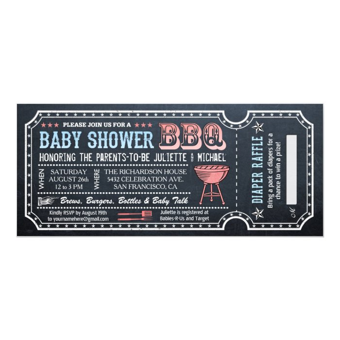 bbq tickets template - baby shower bbq ticket invitations w diaper raffle zazzle