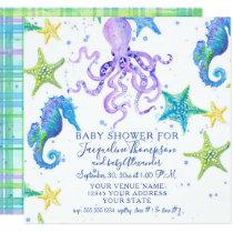 Baby Shower Beach Starfish Octopus Seahorse Plaid Card