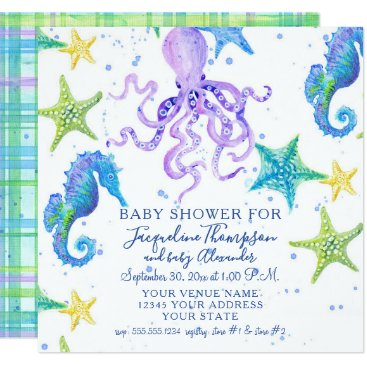 Beach Themed Baby Shower Beach Starfish Octopus Seahorse Plaid Card