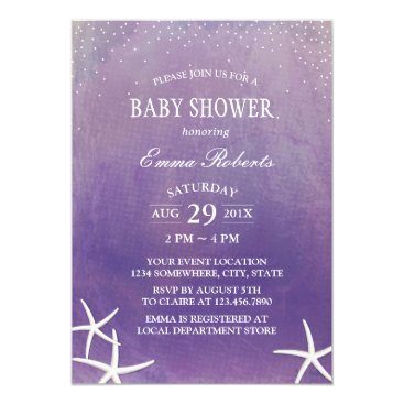Beach Themed Baby Shower Beach Starfish Purple Watercolor Card