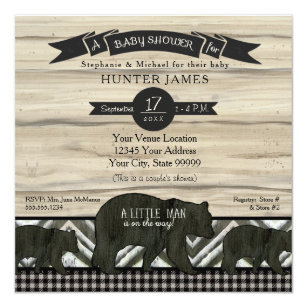 Baby Shower Bear Woodland Forest Lumberjack Plaid Invitation