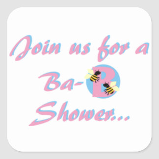 Baby Shower Bees Pink and Blue Square Sticker