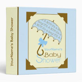 Baby Shower Binder -Blue & Brown Umbrella