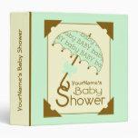 Baby Shower Binder -Green & Brown Umbrella
