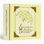 Baby Shower Binder - Yellow & Brown Umbrella