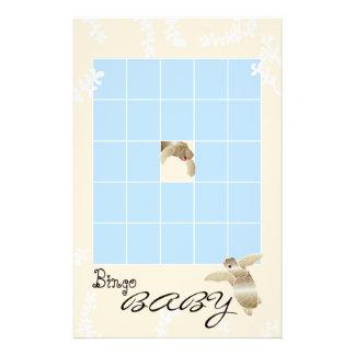 """Baby Shower BINGO """"Blue/Cream Turtle"""" Flyer"""