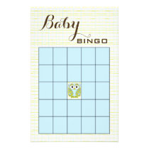 Baby Shower BINGO Blue Green OWL Flyer