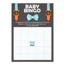 Baby Shower Bingo Bow tie Baby Boy Little man Card