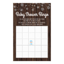 Baby Shower Bingo Boy Rustic Snowflake Bingo Cards