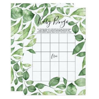 Baby Shower Bingo Card | Green Foliage