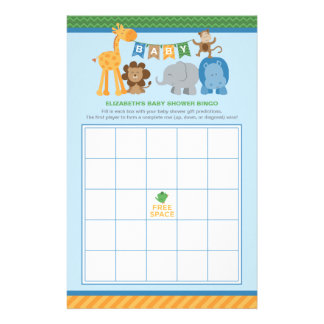 Baby Shower Bingo Cards | Jungle Animals For Boy