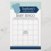 Baby Shower Bingo - Cute Boy Polka Dots Game