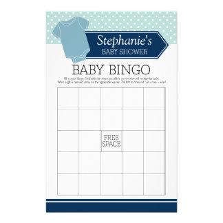 Baby Shower Bingo - Cute Boy Polka Dots Game Flyer