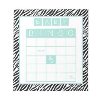 Baby Shower Bingo Game Chic Aqua Mint Zebra Note Pad