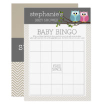 Baby Shower Bingo Game - Cute Owls Card