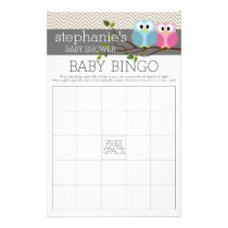 Baby Shower Bingo Game - Cute Owls Flyer