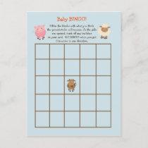 Baby Shower BINGO Game- Farm Animal Theme Invitation Postcard