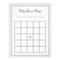Baby Shower Bingo Gray Chevron Letterhead