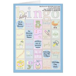 Baby Shower Bingo Invitation Greeting Cards
