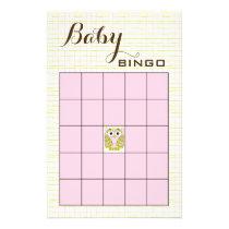 Baby Shower BINGO Pink Green OWL Flyer