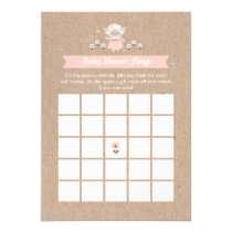 Baby Shower Bingo Pink Lamb Game Card