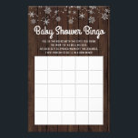 """Baby Shower Bingo Rustic Snowflake Baby Bingo Card<br><div class=""""desc"""">Baby shower bingo cards on a rustic wood and snowflake background. These cute baby shower bingo card flyers are easily customize for your event by simply adding the text of your choice in the font style you prefer.</div>"""