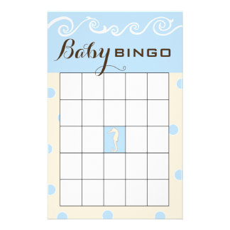 Baby Shower BINGO Sea Mobile Cream/Blue Flyer