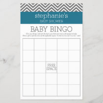 Baby Shower Bingo - Teal and Gray Chevrons