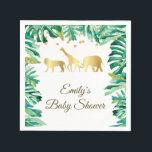 "Baby shower birthday napkin safari green gold<br><div class=""desc"">Personalized napkins for wedding or any event.</div>"