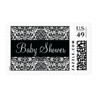 Baby Shower Black and White Damask Postage