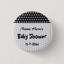 Baby Shower, Black and White Polka Dot Pattern. Button