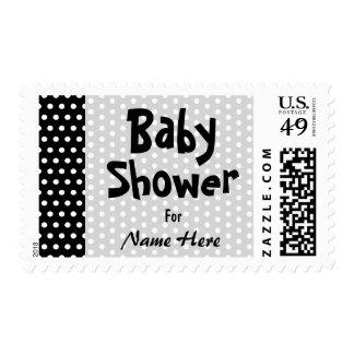 Baby Shower, Black and White Polka Dot Pattern. Postage