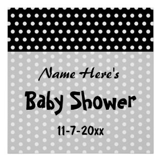 Baby Shower, Black and White Polka Dot Pattern. Poster