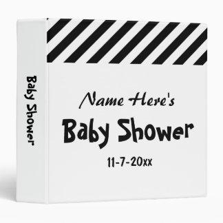 Baby Shower, Black and White Stripes. Vinyl Binders