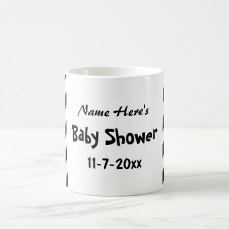 Baby Shower, Black and White Stripes. Classic White Coffee Mug