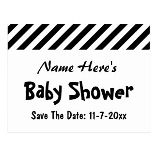 Baby Shower, Black and White Stripes. Postcard