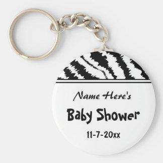 Baby Shower Black and White Zebra Pattern. Custom. Keychain